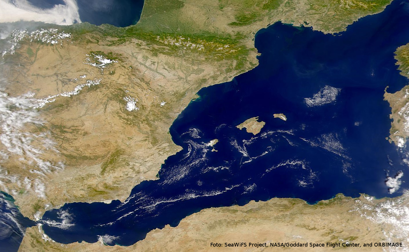 Imagen satelital del Mediterráneo Occidental. Foto: SeaWiFS Project, NASA/Goddard Space Flight Center, and ORBIMAGE